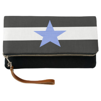 Strips - black and white - blue star. clutch