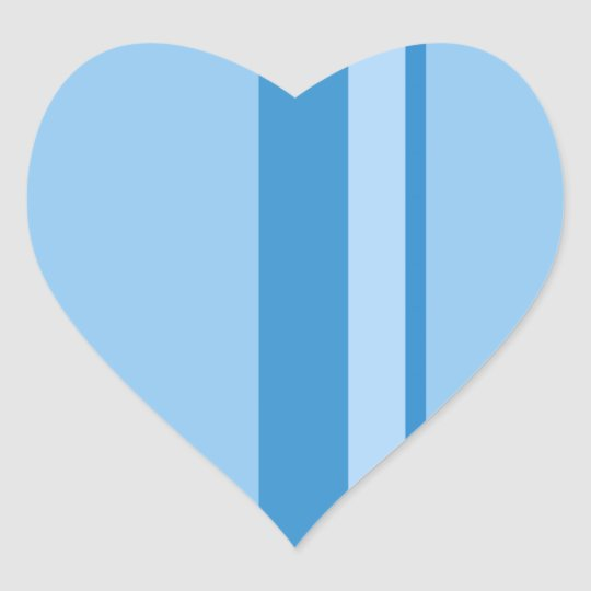 Strips - blue. heart sticker