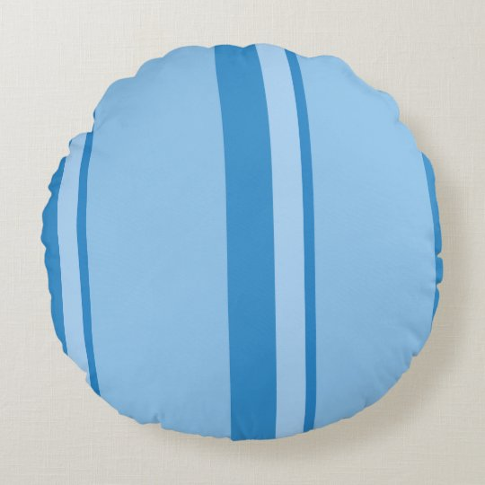 Strips - blue. round pillow