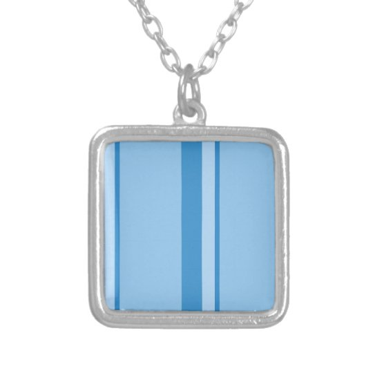 Strips - blue. silver plated necklace