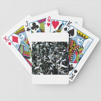 strips of garbage metal bicycle playing cards