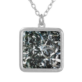 strips of garbage metal silver plated necklace