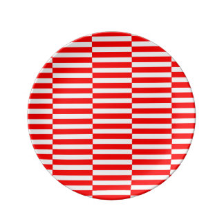 Strips - red and white plate