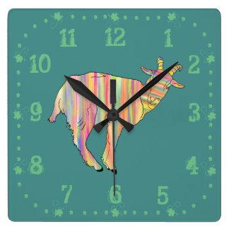 Stripy colourful Funny Goat Art Animal Design Clocks