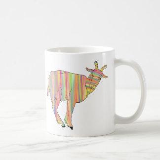 Stripy colourful Funny Goat Art Animal Design Coffee Mug