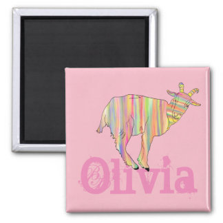Stripy Colourful Goat Art Design Add Your Name Magnet
