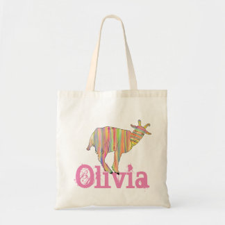 Stripy Colourful Goat Art Design Add Your Name Tote Bag