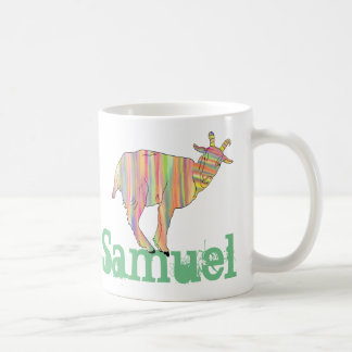 Stripy Colourful Goat Art Design with Your Name Coffee Mug