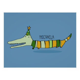 Stripy Mr Crocodile Children's Poster