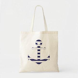 Stripy nautical anchor tote bag