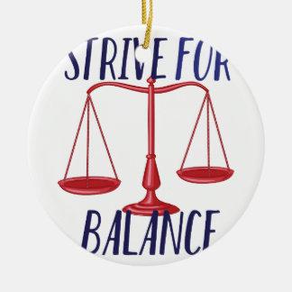 Strive For Balance Round Ceramic Ornament