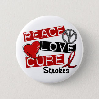 Stroke PEACE LOVE CURE 1 2 Inch Round Button