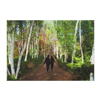 Stroll on Romantic Lovers Lane Canvas Prints