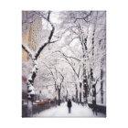 Strolling A Snowy City Sidewalk Canvas Print