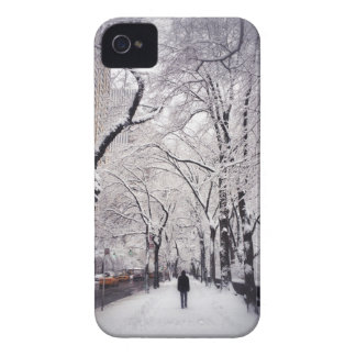 Strolling A Snowy City Sidewalk iPhone 4 Cover