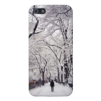 Strolling A Snowy City Sidewalk iPhone 5 Covers