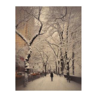 Strolling A Snowy City Sidewalk Wood Canvas