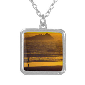 Strolling Harris Beach At Sunset - Oregon Silver Plated Necklace