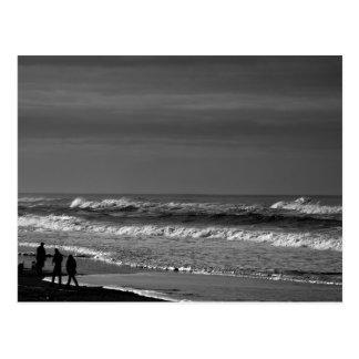 Strolling the Oregon Coast in Monochrome Postcard