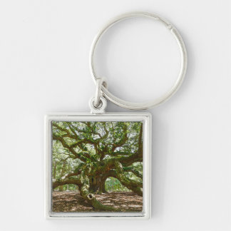 Strong And Bold Silver-Colored Square Keychain