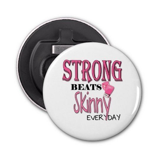 STRONG BEATS Skinny everyday! Pink Boxing Gloves Button Bottle Opener