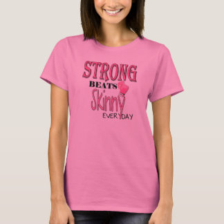 STRONG BEATS Skinny everyday! With Pink Boxing Glo T-Shirt