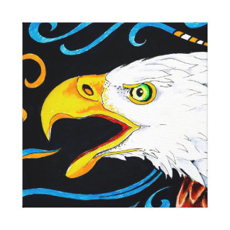 Strong Eagle Ink Art Canvas Print