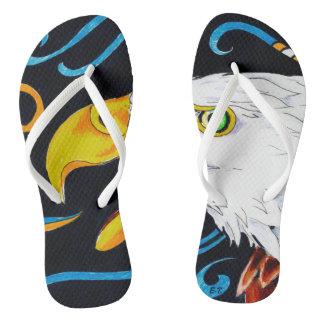 Strong Eagle Ink Art Flip Flops