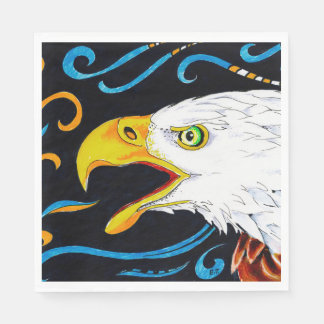 Strong Eagle Ink Art Paper Napkin