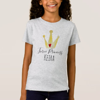 Strong Girl Watercolor Crown Princess with Name T-Shirt