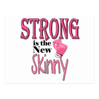 STRONG is the new Skinny! With Pink Boxing Gloves Postcard
