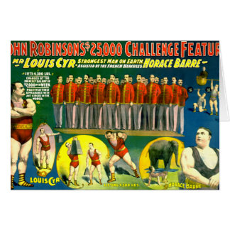 Strong Men Circus Show Vintage 1898 Poster Card