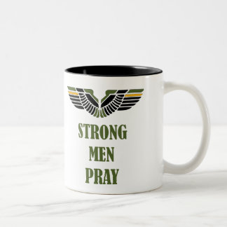 Strong Men Pray 11oz Two-Tone Christian Coffee Mug