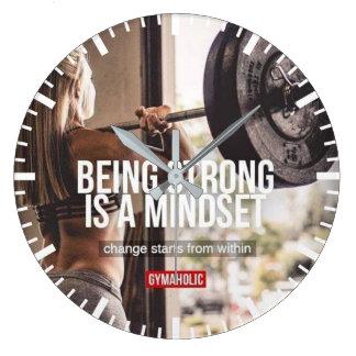 Strong Mindset - Women's Fitness Inspirational Large Clock
