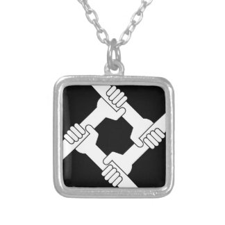 strong together silver plated necklace