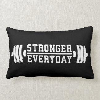 Stronger Everyday - Workout Inspirational Lumbar Pillow