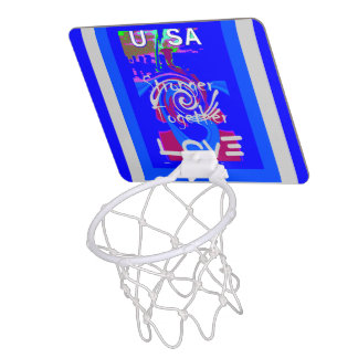 Stronger USA Together Lovely blue amazing design Mini Basketball Hoop