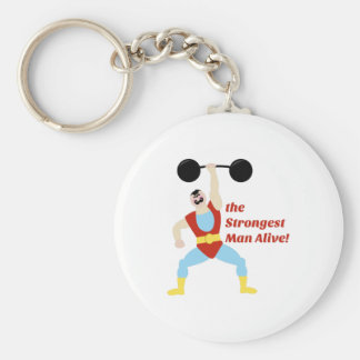 Strongest Man Basic Round Button Keychain
