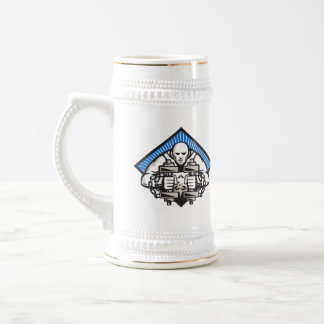 Strongman With Dumbbell In Chains Beer Stein