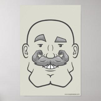 Strongstache (Bald, Gray Hair) Poster
