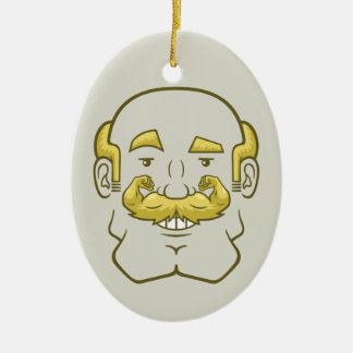Strongstache (Balding, Blond Hair) Ceramic Oval Ornament