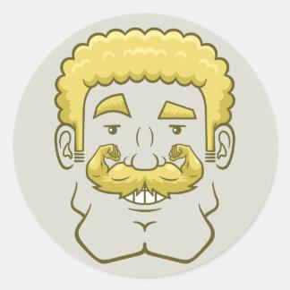 Strongstache (Curly Blond Hair) Round Sticker