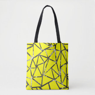 Structure of triangles with a collage of inscripti tote bag