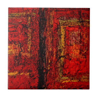 Structure Red African Abstract Ceramic Tile