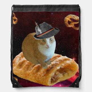 strudel cat drawstring bag