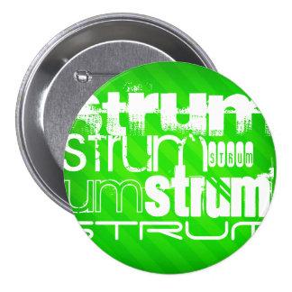 Strum; Neon Green Stripes 3 Inch Round Button