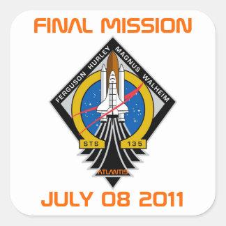 STS-135 Patch, Final Mission, July 08 2011 Square Sticker