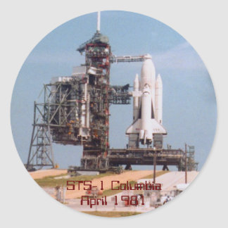 STS-1 Space Shuttle Columbia Round Sticker