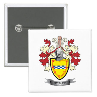 Stuart Family Crest Coat of Arms 2 Inch Square Button