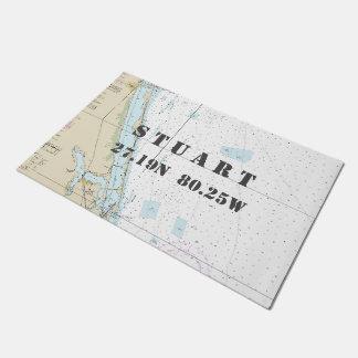 Stuart Florida Latitude Longitude Nautical Boating Doormat